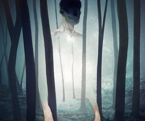art, forest, and dark image