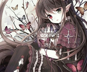 anime, butterfly, and elf image