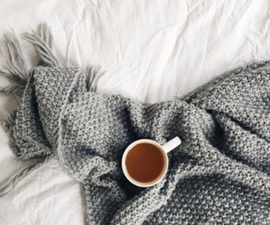 coffee, bed, and blanket image