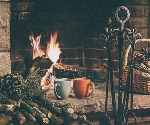 winter, fire, and fireplace image