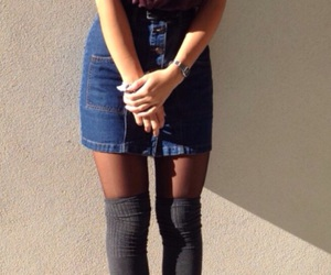 dr martens, outfit, and denim skirt image