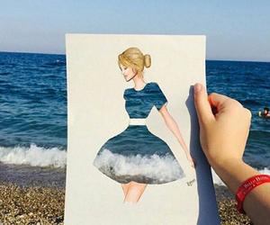 art, sea, and drawing image