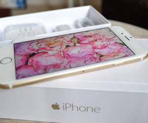 iphone, apple, and flowers image