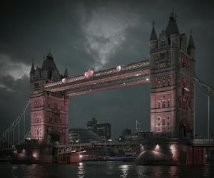 london, night, and tower bridge image