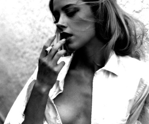 smoke, amber heard, and black and white image