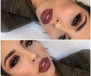 beauty, eyebrows, and lipstick image