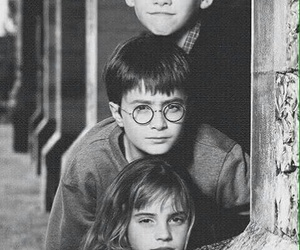 hermione, harry potter, and hogwarts image
