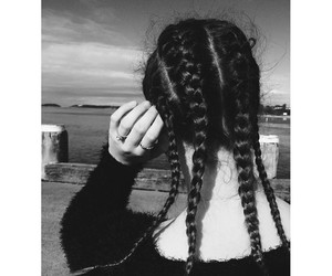 black, braid, and black and white image