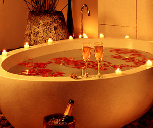 romantic, bath, and rose image