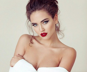 blue eyes, brunette, and red lipstick image