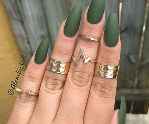 nails, green, and matte image