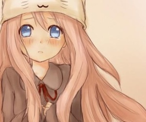blue eyes, neko, and pink hair image
