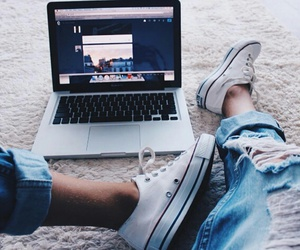 converse, macbook, and teen image