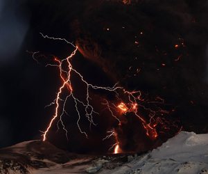 lightning, volcano, and nature image