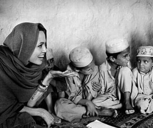 Angelina Jolie, child, and black and white image