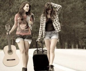 friends, girl, and guitar image