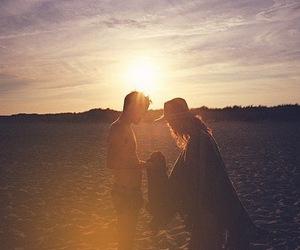 couple, sunset, and boy image