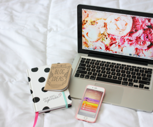 iphone, flowers, and laptop image
