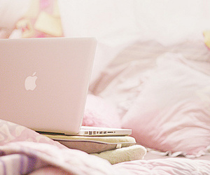 pink, apple, and bed image
