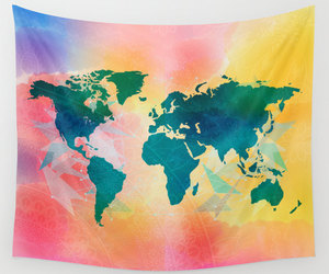 bohemian, wall tapestry, and watercolor map image