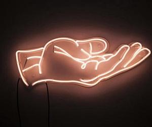 light, neon, and hand image