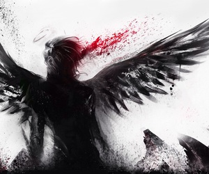 angel, blood, and wings image