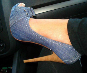 shoes, jeans, and heels image