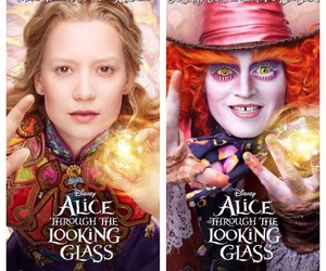 alice in wonderland, disney, and looking through the glass image