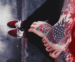 tattoo, vans, and black and white image