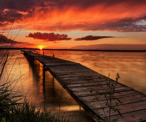 pier, sunset, and twilight image