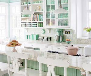 kitchen, white, and green image