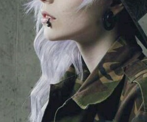 piercing, hair, and scene image