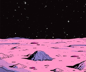 space, pink, and stars image
