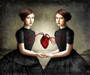 art, girl, and heart image