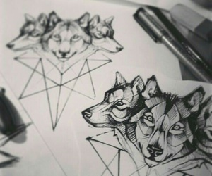 wolf, tattoo, and black image
