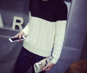 mens clothes, contrast color, and knitting clothes image