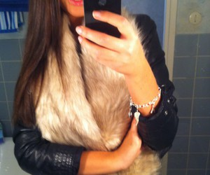 fur, leather jacket, and girl image