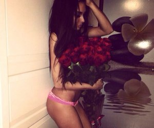 girl, body, and rose image