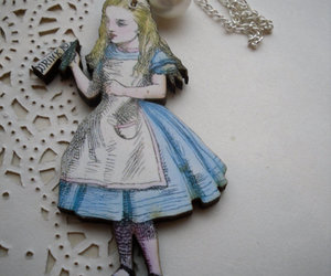alice in wonderland, brooch, and drawing image