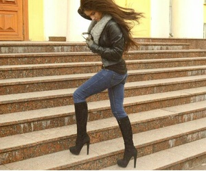 brunette, girl, and jeans image