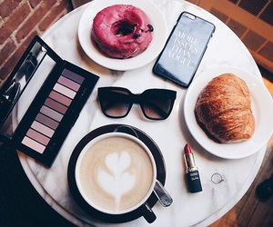 coffee, makeup, and breakfast image