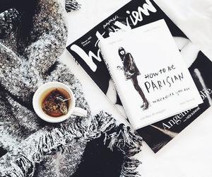 book, tea, and white image