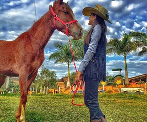 Cowgirl, horse, and ranch image