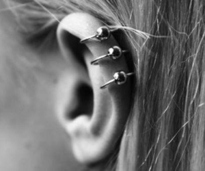 piercing, ear, and black and white image