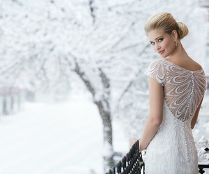 bridal gown, wedding dress, and winter wedding image