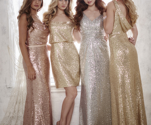 bridesmaids, gold, and sequin dress image