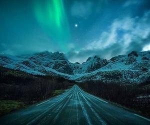 aurora borealis, norway, and mountain image