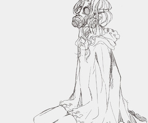 gasmask and monochrome image