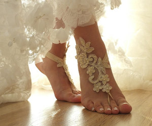 wedding shoes, beach wedding, and lace barefoot sandal image