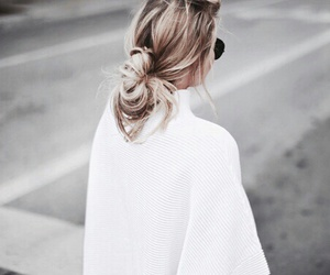 blond, bun, and messy image